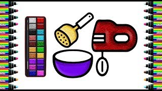 How to draw bakery equipment for children   Drawing and coloring for Kids   bé yêu