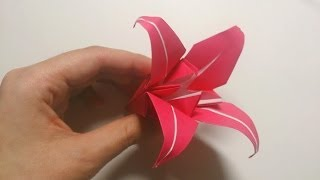 Great Origami-how to make paper Lily -暮らしを彩る、すてきなおりがみ雑貨-百合の折り方-