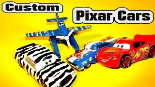 Pixar Cars Custom Zebra Chick Hicks and Custom Fabulous DUSTY with Cars  Disney Lightning McQueen