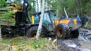 Valtra forestry tractor with big trailer in wet forest