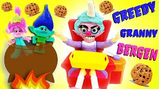 Greedy Granny Bergen Chef Game! Bridget Saves Trolls Poppy, Branch & DJ Suki! Learn Counting
