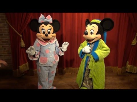Mickey and Minnie Meeting in Pajamas at Monstrous Summer All-Nighter, Magic Kingdom