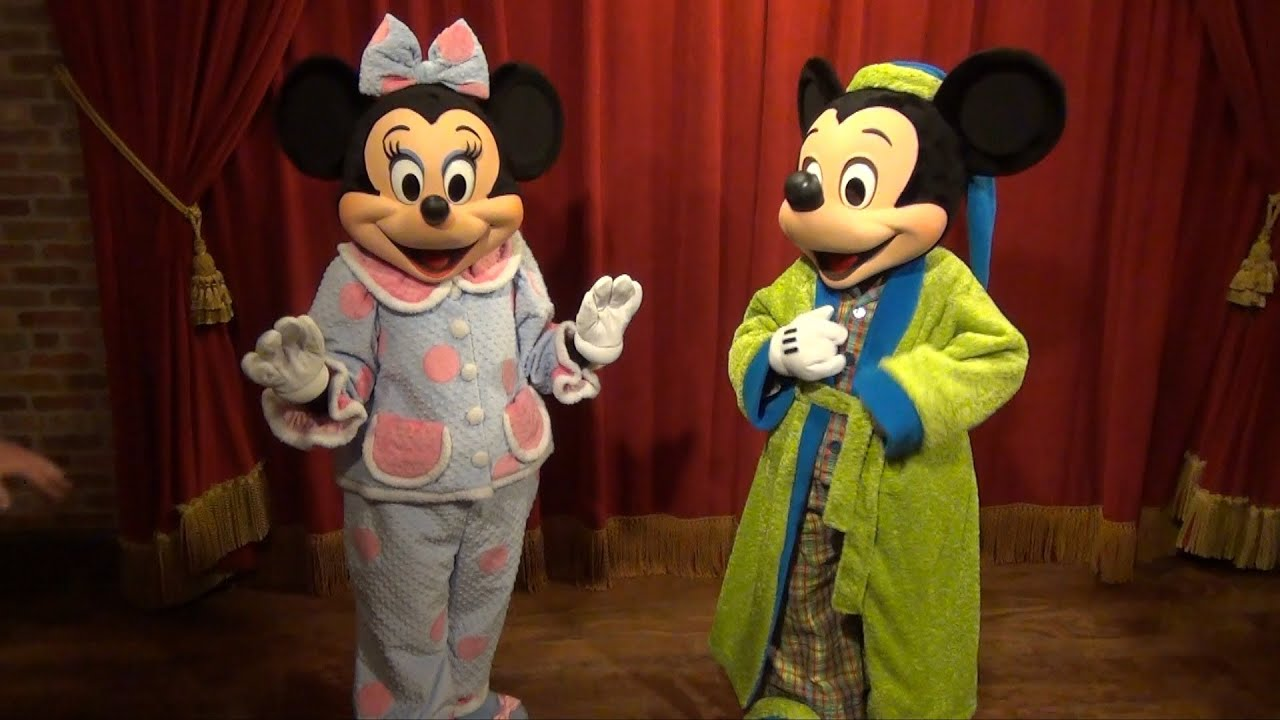 mickey and minnie meeting in pajamas at monstrous summer all-nighter  magic kingdom