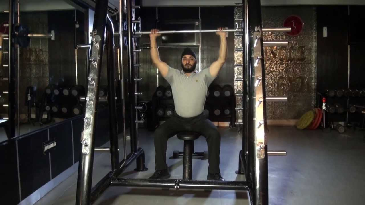 Shoulders Delts Front Military Press On Smith Machine