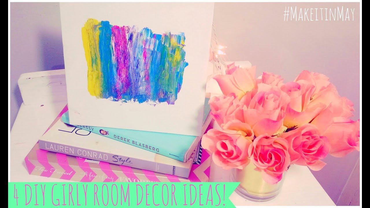 4 diy girly room decor ideas makeitinmay youtube for Room decor ideas for teenage room