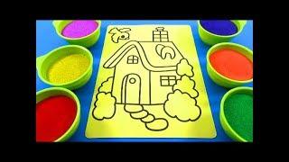 NHẠC THIẾU NHI VUI NHỘN! ĐỒ CHƠI TRẺ EM TÔ MÀU TRANH CÁT HÌNH NHÔI NHÀ - Color Sand Paint