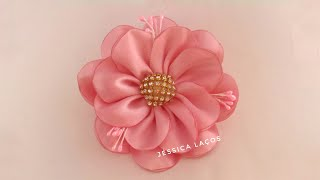 DIY PAP Flor de cetim facil/satin flower/Easy satin flower
