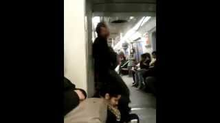 Crazy men singer on bus