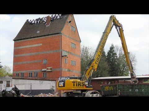 Abbruch Hochsilo Altenmedingen - 2 große Abbruchbagger Cat 349E 32m//336E - Abriss ohne Probleme