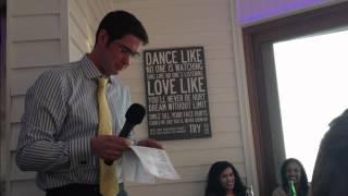 James rocks the Groom's Speech