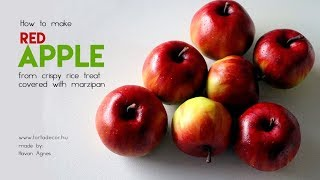 How to make red apple from crispy rice treat covered with marzipan