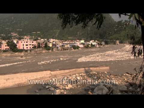 Sand bars, rocks and rubble remain after the floods swept through Uttarakhand