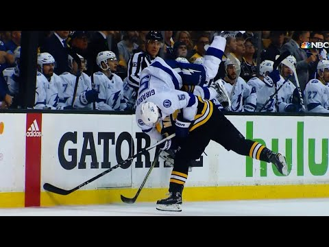 Marchand flips Girardi with old-school hip check
