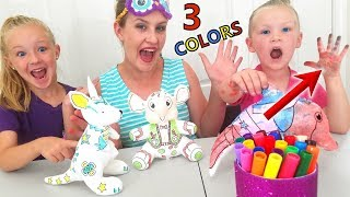 3 Marker Plushie Challenge! Coloring Squishy Toys (Bear, Dog and Dinosaur)