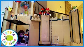 CARDBOARD CASTLE MEGA FORT! We Can't Wait to Play with Toy Trains and Cars IN THIS THING
