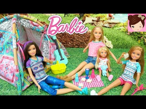Barbie and Her Sisters Go Camping and Get Scared by a Monster ? - Dolls Playing in the Beach