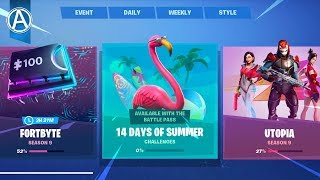 NEW FREE 14 DAYS OF SUMMER CHALLENGES! NEW FREE BACK BLINGS & SKINS (Fortnite Battle Royale LIVE)