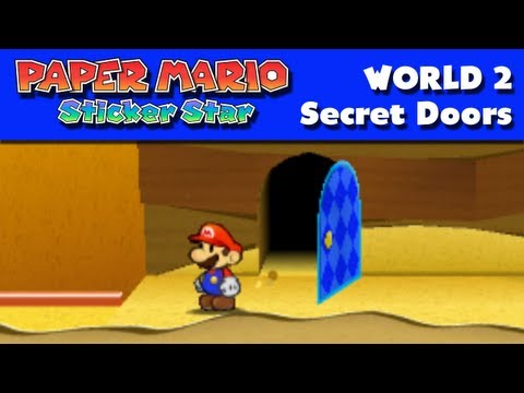 Paper Mario Sticker Star - World 2 - Secret Doors (Nintendo 3DS Gameplay Walkthrough)