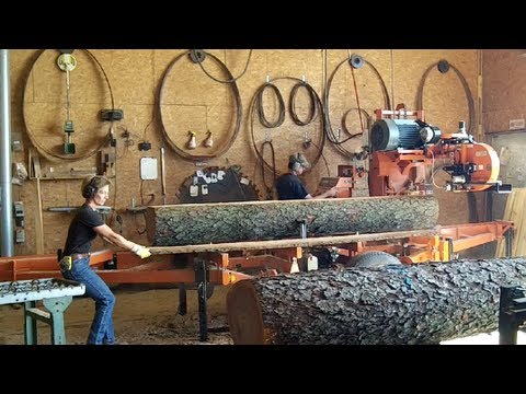 Wood-Mizer LT50 Sawmill Milling Nice Black Cherry Logs into Lumber, Husband & Wife Team