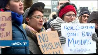 Muslim people detained after President Donald Trump's travel ban
