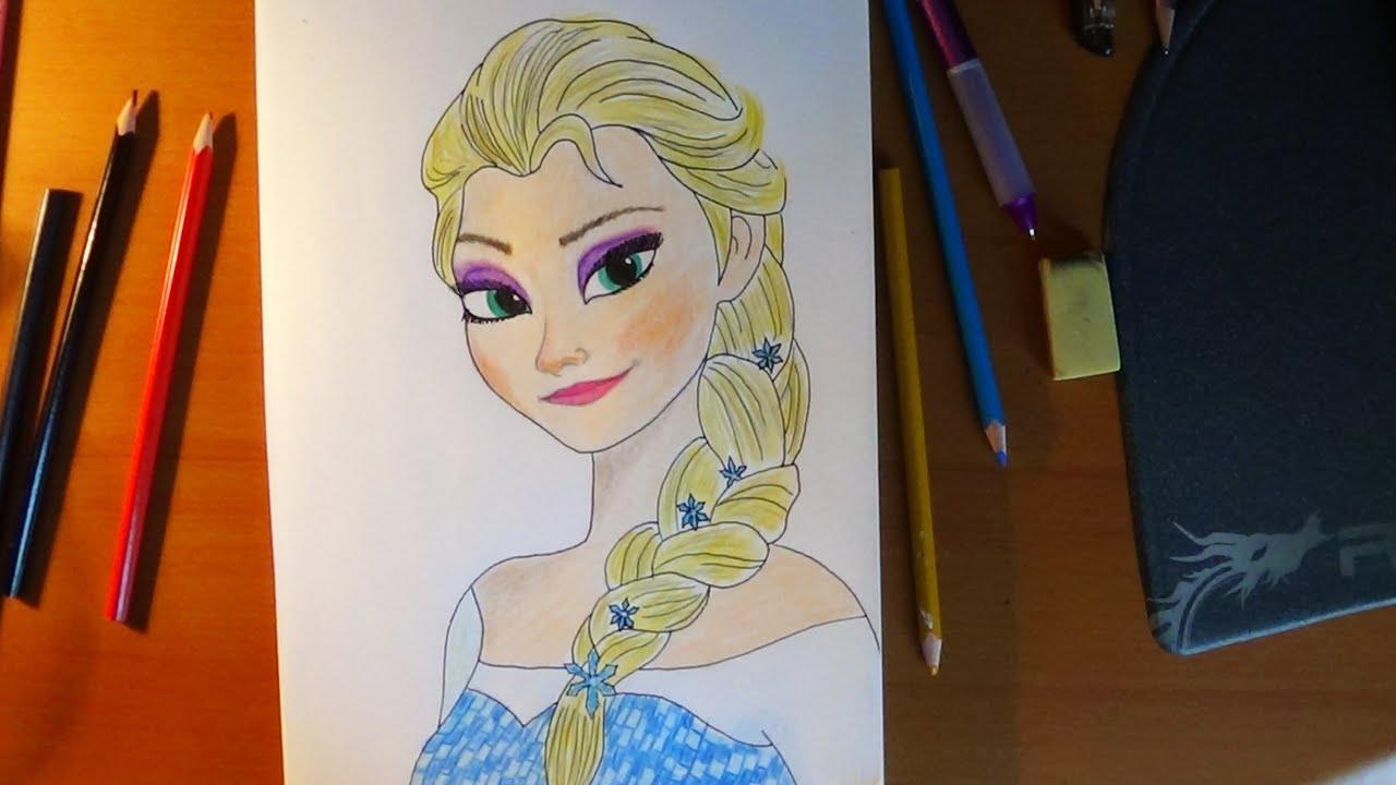 How to draw Elsa from Frozen, Cómo dibujar Elsa de Frozen, Как ...