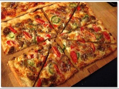 Домашняя пицца.Очень тонкое тесто и сочная начинка.Простой рецепт пиццы.