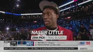 Trail Blazers select Nassir Little with the #25 pick in the 2019 NBA Draft