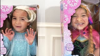 The twins dress up as Elsa and Anna for their birthday