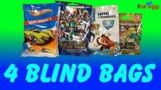 4 various Blind Bags, HotWheels, Playmobil, Ice Age and Lego Toy opening unboxing