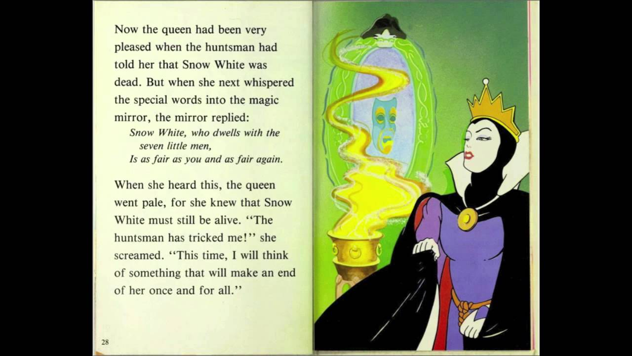 book report of snow white 1957 printing with mcmxcii and 2455-57 on the back cover cover looks to be faded from original yellow, which you can see on the back cover there are 2 stickers on.