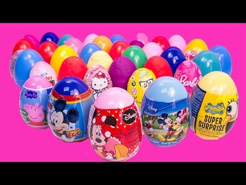 40 SURPRISE EGGS PEPPA PIG MICKEY MOUSE MINNIE MOUSE FROZEN SPONGEBOB ANGRY BIRD