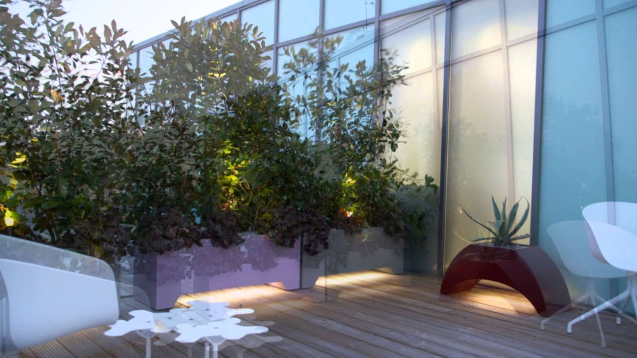 Roof Terrace With Led Lighting By Mylandscapes Contemporary Garden Design Youtube