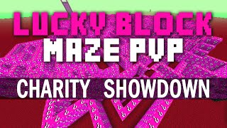 Minecraft PINK LUCKY BLOCK CHARITY SHOWDOWN LABYRINTH with The Pack