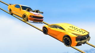 INSANE TIGHTROPE CAR FIGHT! (GTA 5 Funny Moments)