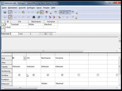 02 OpenOffice Base: Eine Abfrage erstellen