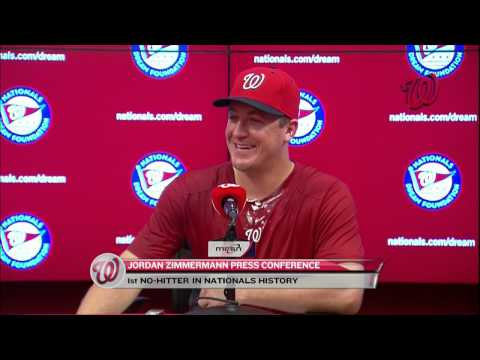 Jordan Zimmermann address the media after his no-hitter