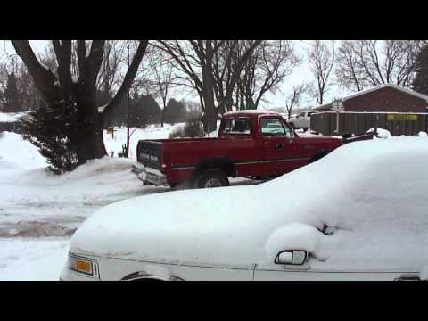 93 Dodge Ram W150.  Plowing snow.  Magnaflow XL Muffler.