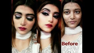 Silver Glitter Glam makeup with kryolan tv paint stick tutorial in urdu/hindi
