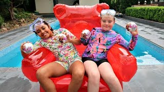 Giant Gummy Bear Chair Pool Party - LOL Surprise Baby Dolls