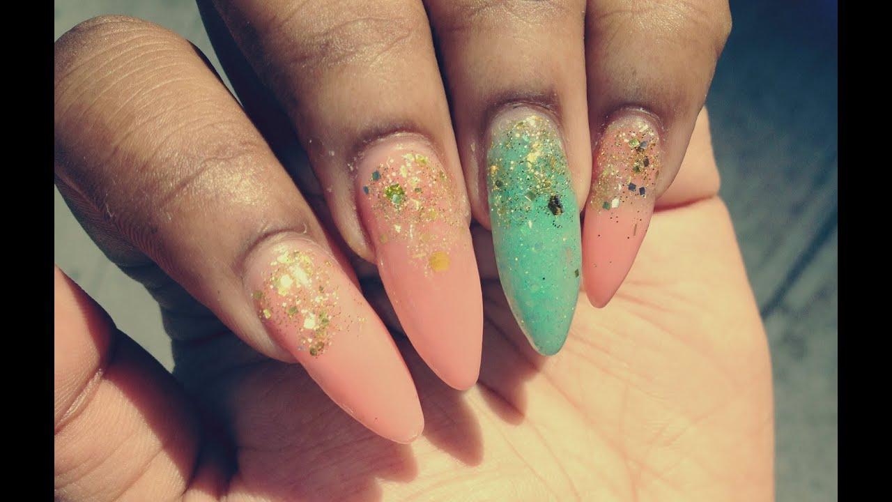 Acrylic Nails Coral