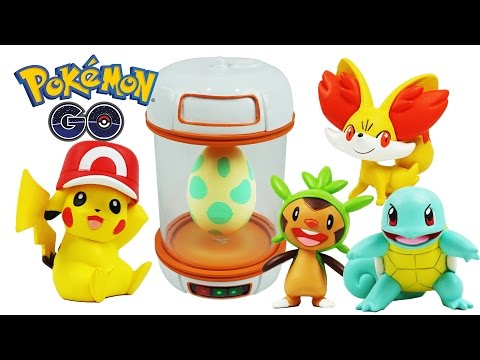 Real Life Pokemon Go Incubator Surprise Eggs, Pikachu, Squirtle, Meowth, Chespin, Fennekin