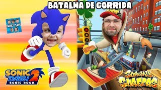 Subway Surfers Papis Family VS Sonic Boom Rodrigo! Batalha Quem Corre Mais - Family Plays