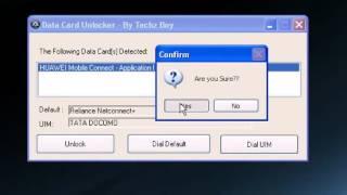 Data Card Unlocker   Unlocking Reliance Huawei Netconnector for TATA DOCOMO