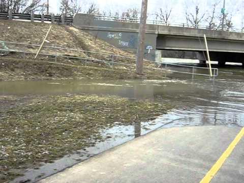 London, Ont. Adelaide Wells Park floods as water spills over Thames River  banks.