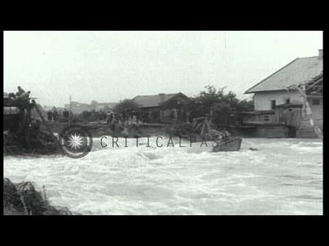The submerged buildings and houses in Europe due to flood in Danube river. HD Stock Footage