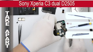How to disassemble 📱 Sony Xperia C3 D2502, D2503, D2505, D2533 Take apart, Tutorial