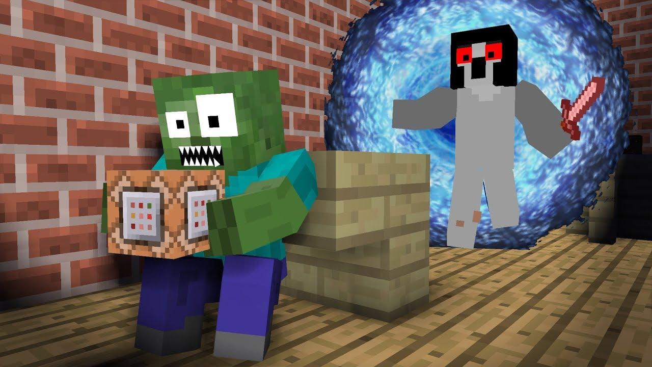 Monster School: Command Blocks   Slendrina - Minecraft Animation