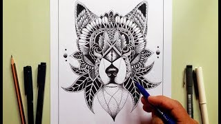 Lobo Dibujo Estilo  Zentangle (Mi Regreso)