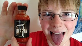 11-yr-old eats Carolina Reaper puree & Spontaneous Combustion : Hot Sauce Review, Crude Brothers