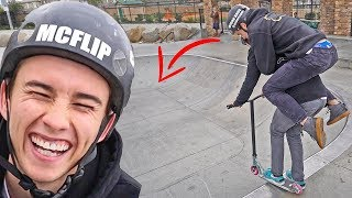 WORLDS FIRST 2 PERSON SCOOTER TRICK!